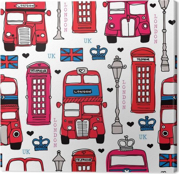 Cuadro en Lienzo Amor London UK recorrido rojo icono Diseño de fondo ...