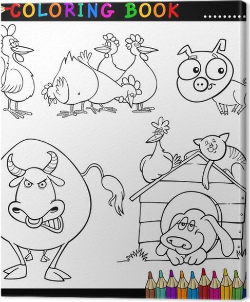 Cuadro en Lienzo Animales de granja para colorear libro o página ...