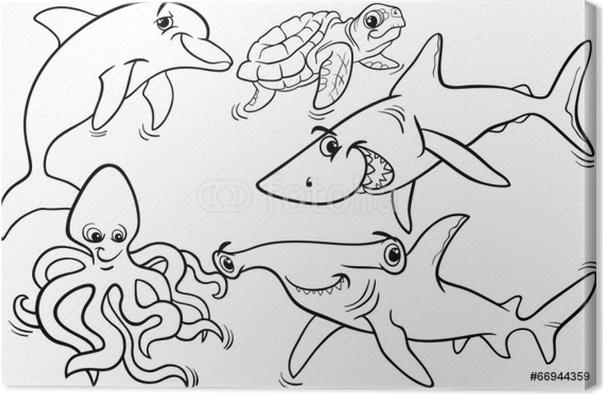 Cuadro en Lienzo Animales de la vida de mar y peces para colorear ...