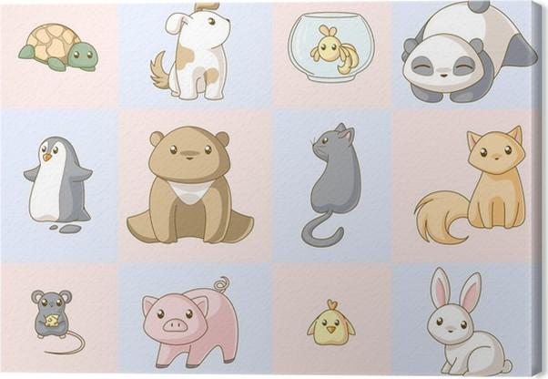 Cuadro En Lienzo Animales Kawaii Set • Pixers