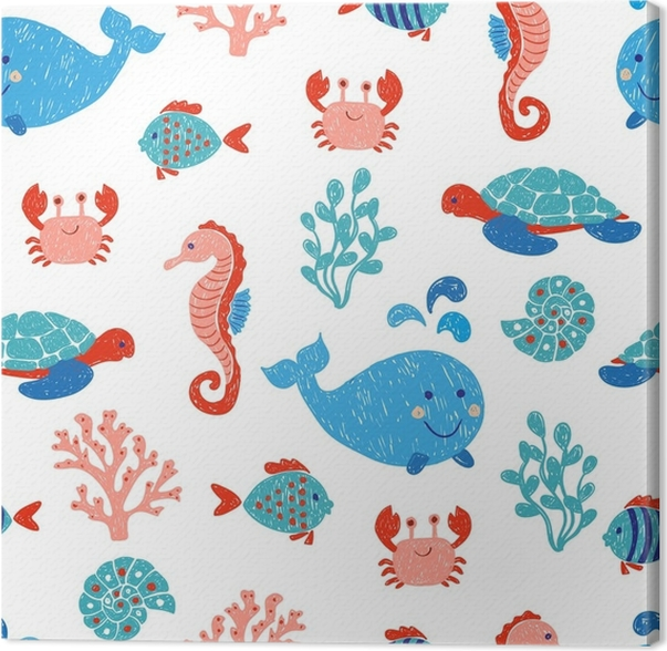 Cuadro en Lienzo Animales marinos lindo de patrones sin fisuras en ...