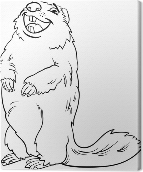 Cuadro en Lienzo Animales marmota de dibujos animados de libro para ...