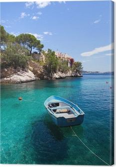 Cuadro en Lienzo Antiguo bote de remos amarrado en Cala Fornells, Mallorca