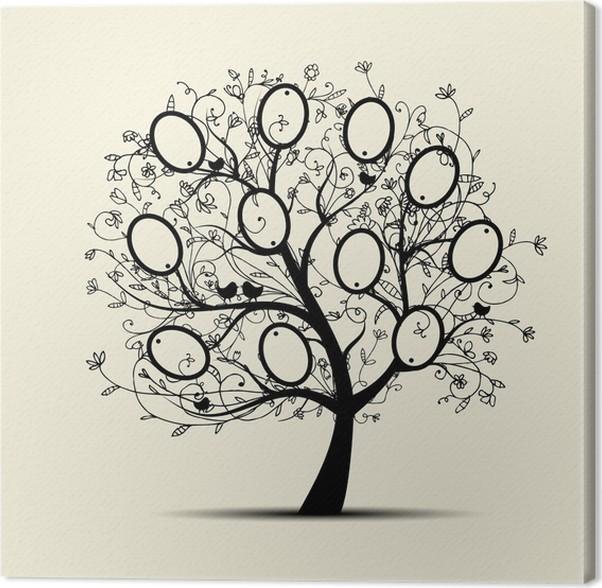 Cuadro en lienzo rbol geneal gico dise o insertar sus - Diseno arbol genealogico ...