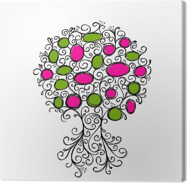 Cuadro en Lienzo Árbol ornamental con los marcos para el diseño de ...