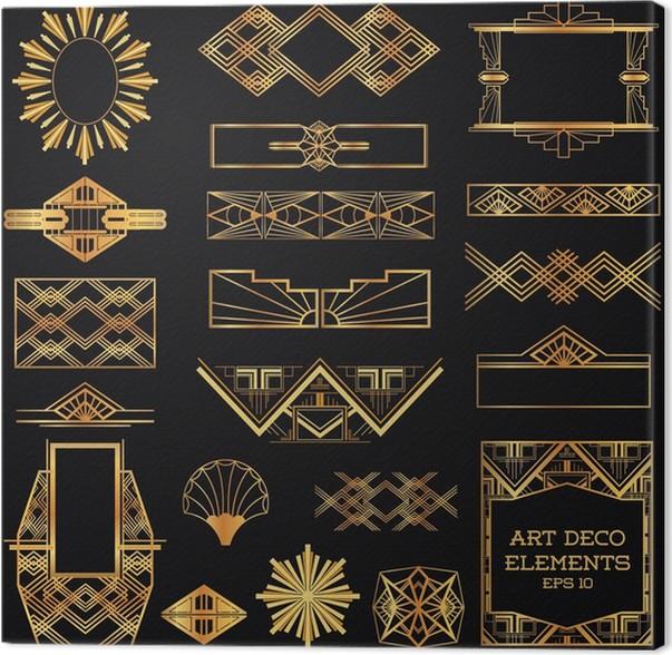 Cuadro en Lienzo Art Deco Marcos Vintage y Elementos de diseño - en ...