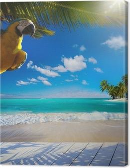 Cuadro en Lienzo Arte hermoso deshabitada playa de mar tropical del Caribe