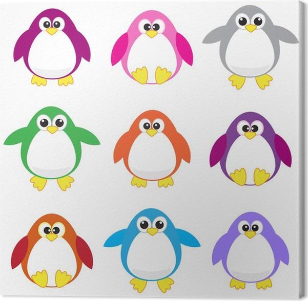Cuadro en Lienzo Arte pingüinos clip color • Pixers® - Vivimos para ...