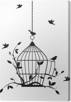 Cuadro en Lienzo Aves libres con jaula abierta, vector