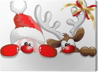 Cuadro en Lienzo Babbo Natale e Renna-Santa Claus y los renos de fondo