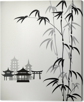 Cuadro en Lienzo Bambú pintado tinta