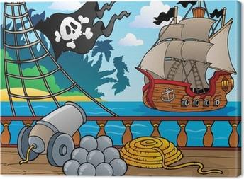 Cuadro en Lienzo Barco pirata baraja tema 4