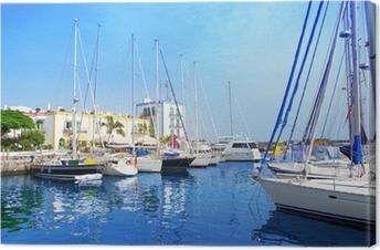 Cuadro en Lienzo Barcos puerto deportivo de Gran Canaria Puerto de Mogán