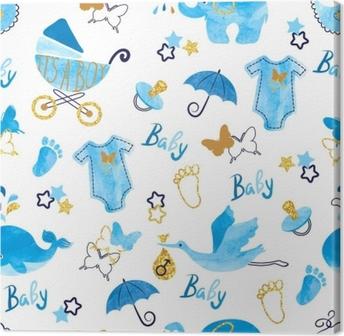 Cuadro en Lienzo Bebé ducha chico de patrones sin fisuras. vector acuarela niños fondo.