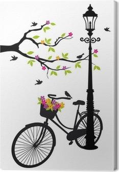 Cuadro en Lienzo Bicicleta con lámparas, flores y vector del árbol,