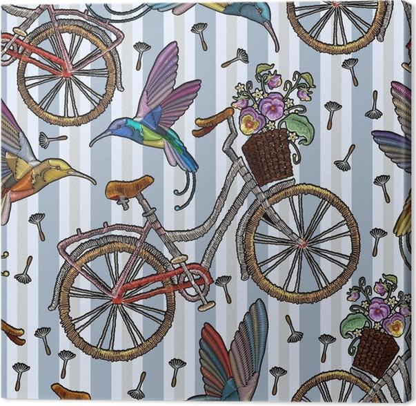 Cuadro en Lienzo Bicicleta de bordado con cesta colibrí y verano ...