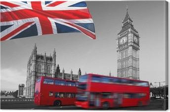 Cuadro en Lienzo Big Ben con autobuses de la ciudad y de la bandera de Inglaterra, Londres