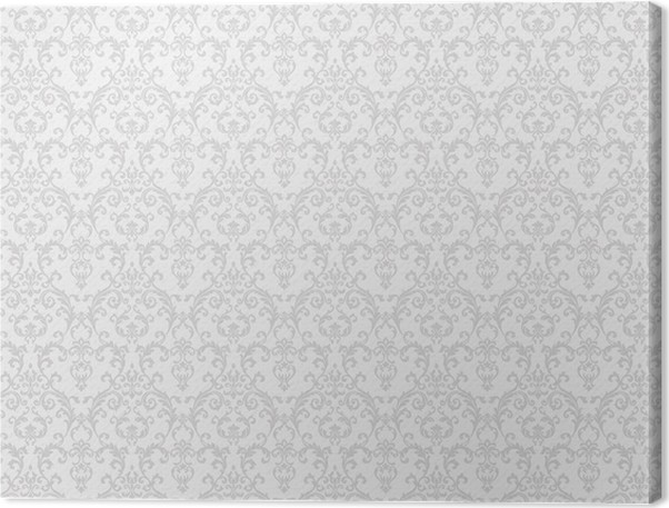 Cuadro en lienzo blanco papel pintado estampado de flores for Papel pintado estampado