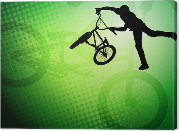 Cuadro en Lienzo Bmx silueta de dobles ciclista en el resumen de ...