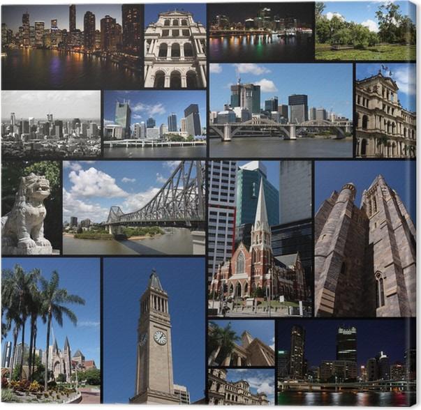 Cuadro en Lienzo Brisbane - collage de la ciudad, memorias de la ...