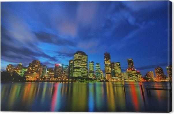 Cuadro en Lienzo Brisbane skyline de la ciudad de noche • Pixers ...