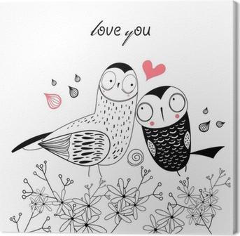 Cuadro en Lienzo Búhos amor