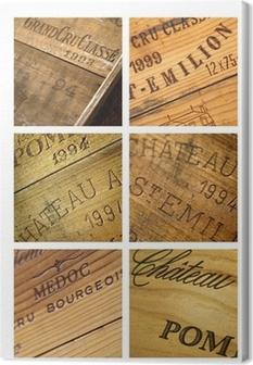 Cuadro en Lienzo Caja de vino, vendimia castillo Burdeos bodega lagar