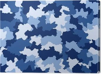 Cuadro en Lienzo Camuflaje azul, seamless, patrón