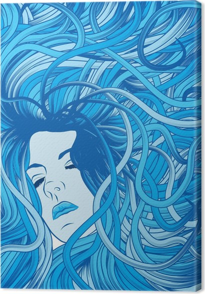 Cuadro en Lienzo Cara de mujer con largo cabello azul que fluye ...