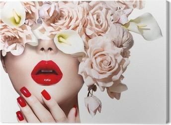 Cuadro en Lienzo Cara de niña modelo de estilo de moda con rosas. Labios atractivos rojos y las uñas.