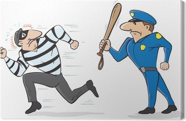Cuadro En Lienzo Caricatura De Un Policía Ahuyentar A Un