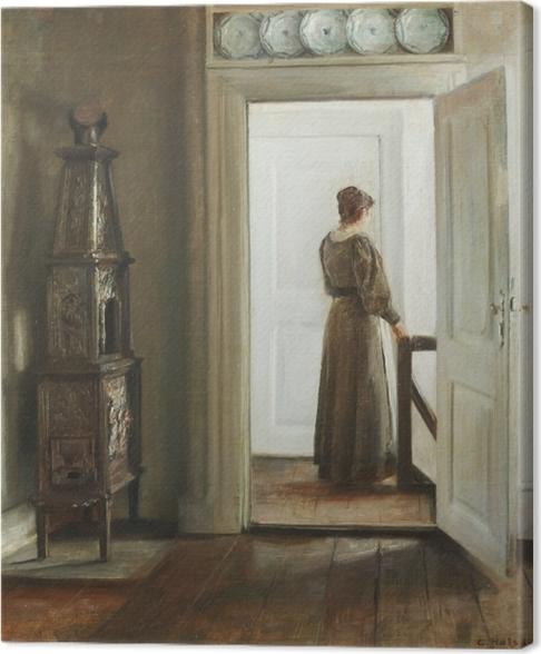 Cuadro en Lienzo Carl Vilhelm Holsøe - Interior con mujer - Reproductions