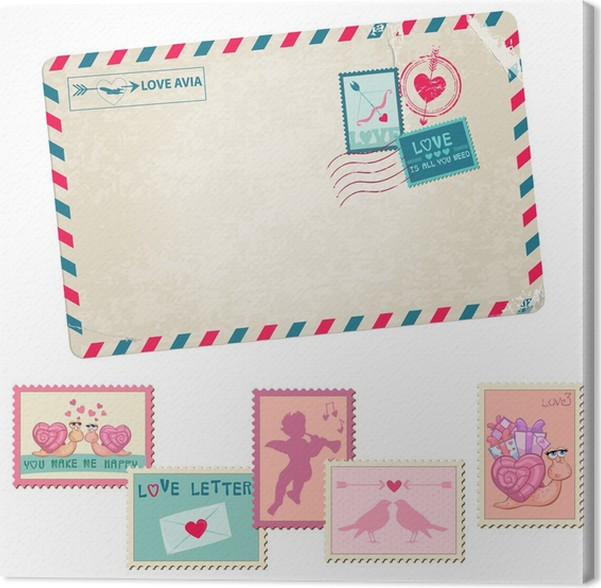 Cuadro en Lienzo Carta de amor - postal Vintage - con Amor, San ...