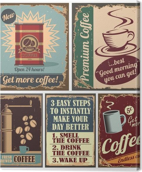 Cuadro en lienzo carteles caf vintage y carteles de chapa - Carteles de cocina ...