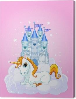 Cuadro en Lienzo Castillo y unicornio