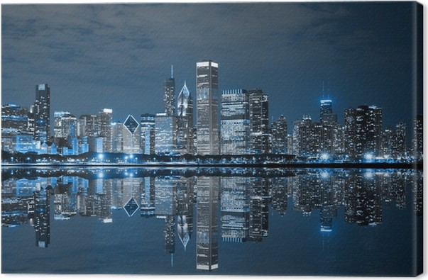 Cuadro en Lienzo Chicago en la noche • Pixers® - Vivimos para cambiar