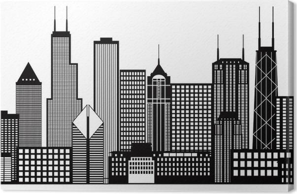 Cuadro en Lienzo Chicago horizonte de la ciudad Negro y Blanco ...