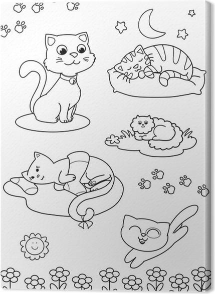 Cuadro en Lienzo Cinco gatos lindos página para colorear para los ...
