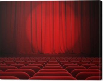 cuadro en lienzo cine cortinas rojas con centro de atencin y asientos - Cortinas Rojas