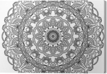 Cuadro en Lienzo Círculo del cordón negro sobre fondo blanco. mandala ornamental