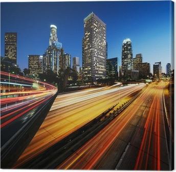 Cuadro en Lienzo Ciudad de Los Angeles California al atardecer con estelas de luz