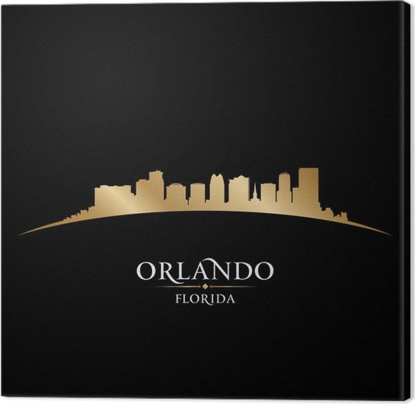 Cuadro en Lienzo Ciudad de Orlando Florida silueta fondo negro ...