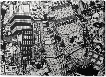 Cuadro en Lienzo Ciudad, una ilustración de un gran collage, con casas, autos y personas