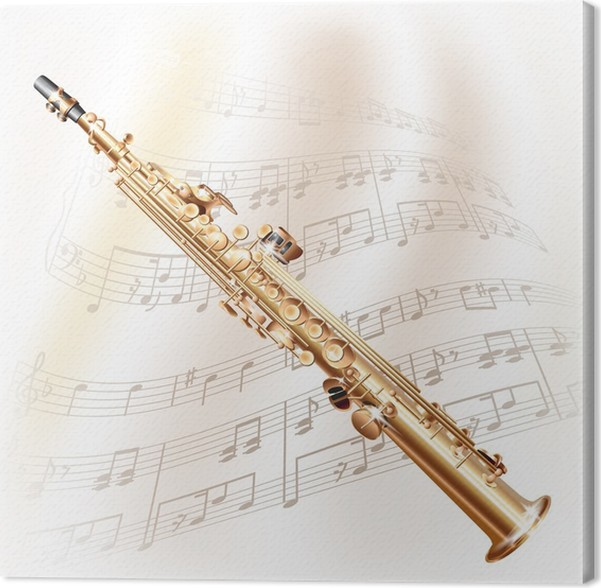 Cuadro en Lienzo Classical saxo soprano en fondo blanco con notas ...