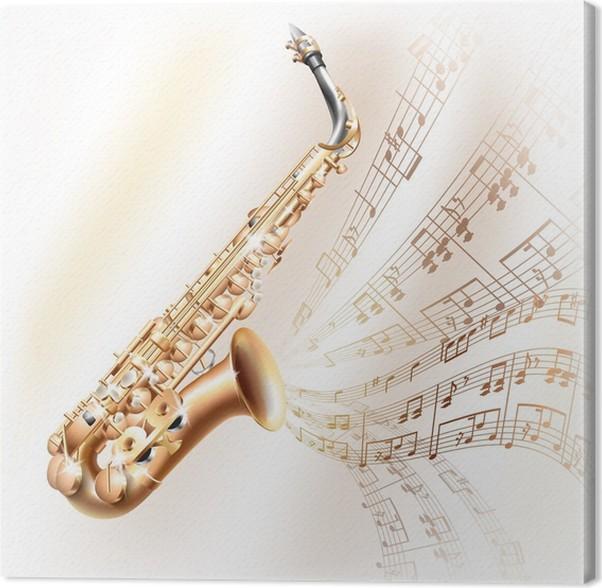 Cuadro en Lienzo Classical saxofón alto en el fondo blanco con las ...