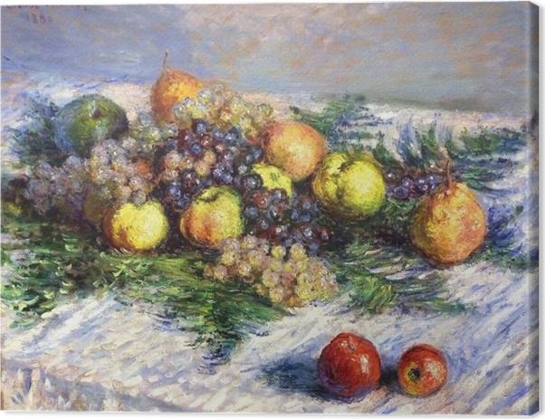 Cuadro en Lienzo Claude Monet - Las peras y las uvas. Naturaleza muerta con frutas - Reproducciones