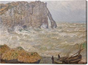 Cuadro en Lienzo Claude Monet - Mar agitado en Etretat
