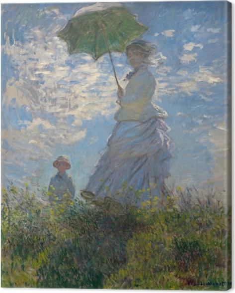 Cuadro en Lienzo Claude Monet - Mujer con un parasol hacia la izquierda - Reproducciones