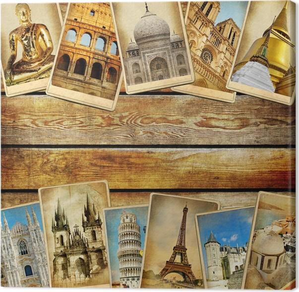 Cuadro en Lienzo Collage de la vendimia - fondo de viajes con el ...