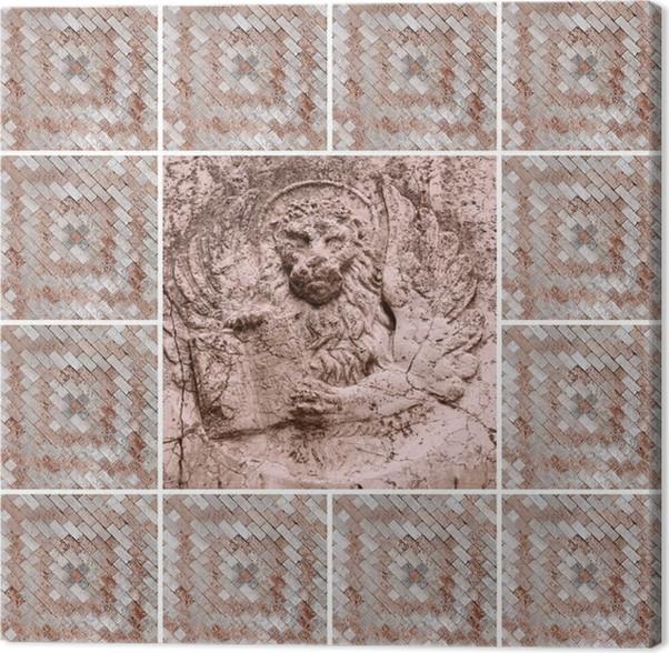 Cuadro en Lienzo Collage veneciano con el león alado - símbolo de ...